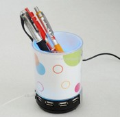 3 in 1 Pen Holder with 4 Ports Hub and Speaker images