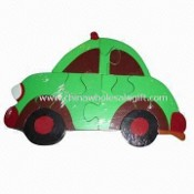 Car-shaped Infant Puzzle, Made of Solid Wood, Measures 24 x 17 x 2cm images