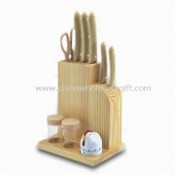 Kitchen Knife Set with Wooden Block and Kitchen Gadgets images