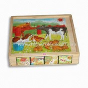 Toy Puzzle, Made of Solid Wood or Plywood, Measures 20.5 x 20.5 x 4cm images