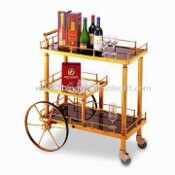 Electroplated Food Trolley, Made of Stainless Steel and Wood, Measures 820 x 425 x 970mm images