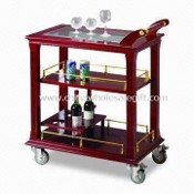 Food Trolley, Available in Brass Wood Color, Made of High Quality Stainless Steel and Wood images