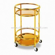 Food Trolley, Made of Stainless Steel and Wood, Measures 400 x 675mm images
