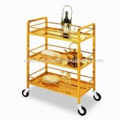 Food Trolley with Electroplated Finish, Made of Stainless Steel and Wood images