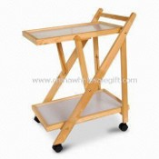 Kitchen Trolley with 4pcs Wheel, Made of Solid Pine Wood images