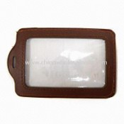 Leather Badge Holder with 2 Side PVC Windows images