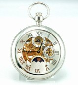 Stainless steel mechanical pocket watch with Moon Phase images