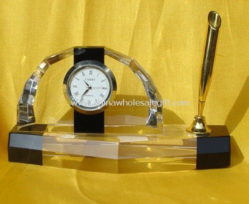 Crystal Clock with Pen Holder