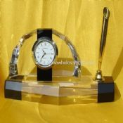 Crystal Clock with Pen Holder images