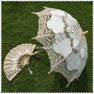 Wedding Lace Umbrella with Fans