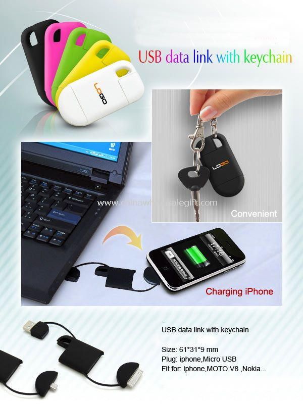 USB Data link with Keychain