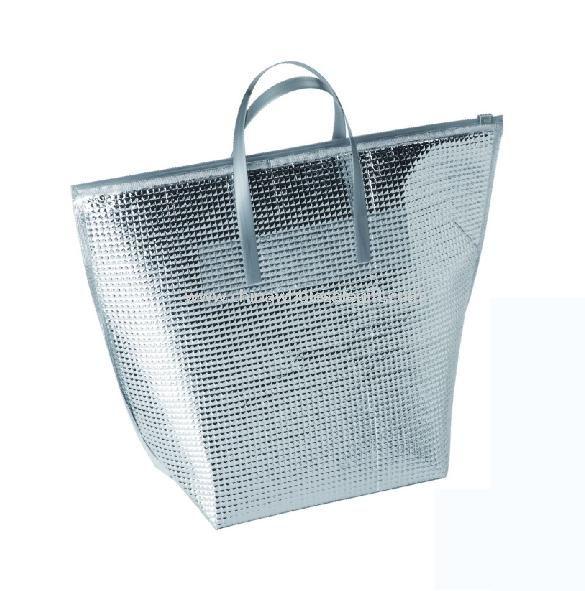 Ezüst hőszigetelt hűtő bevásárló táska