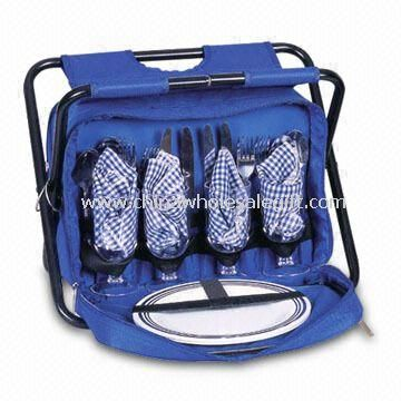 Four-person Picnic Bag with One Main Cooler Compartment and a Folding Chair