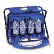 Four-person Picnic Bag with One Main Cooler Compartment and a Folding Chair images