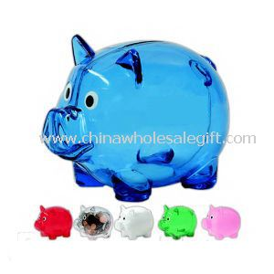 Plastic piggy bank with custom-made logo printing