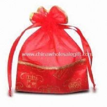 Novel Organza Pouch Bag with Hot Stamped Pearl Gauze Fabric images