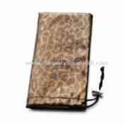 Soft PU Eyeglass Pouch with Drawstring Closure images