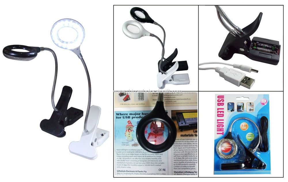 USB LED book light with Magnifying Glass