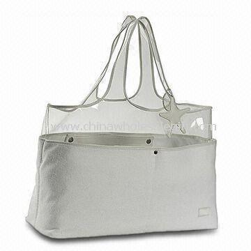 Beach Bag Made of Terry Cloth and Plastic - Plastic beach bag