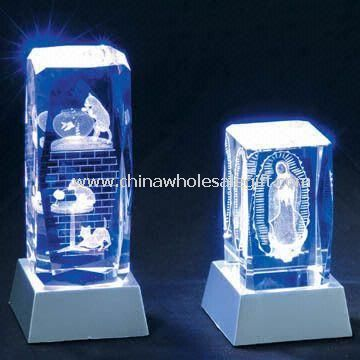 Laser-Engraved Crystal Crafts with LED Base