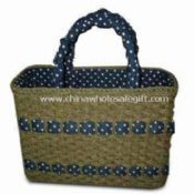 Corn Husk Beach Bag with Paper Straw Handle and Fabric images