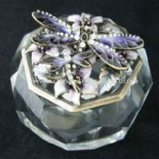Dragonfly Trinket Box Made of Anti-brass with Epoxy and Crystal Base images