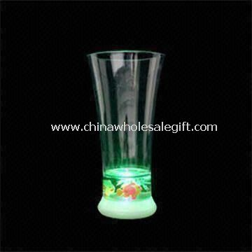 350mL LED Flashing Plastic Water Cup with On and Off Button on Outer Bottom Side