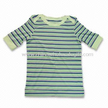 Ladys Short Sleeves T-shirt Made of 65% Bamboo 30% Cotton and 5% Spandex