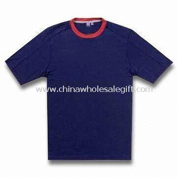 Mens/Womens T-shirt with Contrast Neck and Logo Printing
