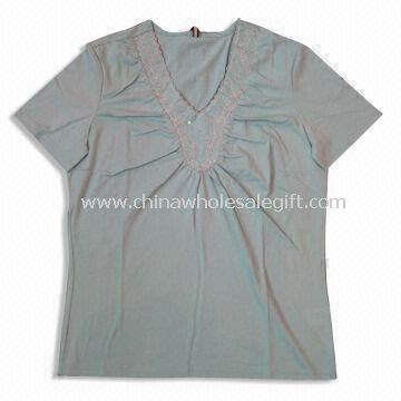 Womens V-neck T-shirts Made of 65% Cotton and 35% Polyester