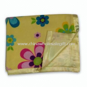 Childrens Printed Soft Coral Fleece Blanket with Polyester Satin Backside