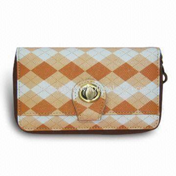 Rhombus Pattern Wallet with Zipper Closure