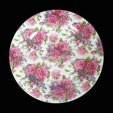 Porcelain Flat Plate with Printing Design and Round Shape