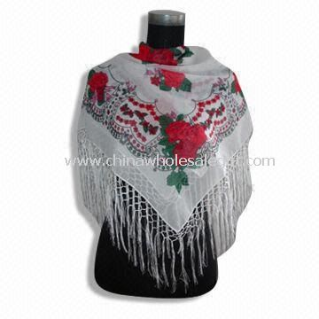 Square Scarf Made of 100% Poly Voil with Fringes