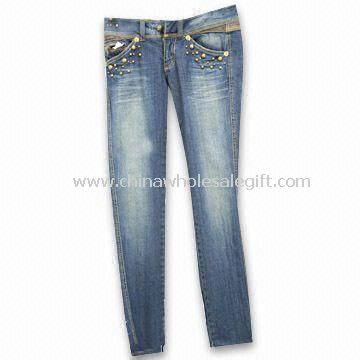 97% Cotton and 3% Spandex Womens Jeans with Five Anti-silver Studs