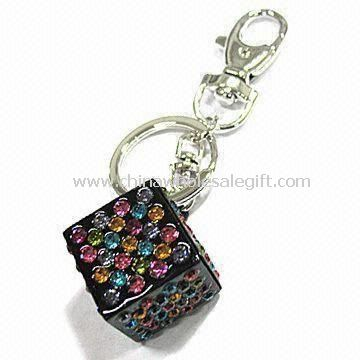 Block-shaped Metal Keychain Decorated with CZ Stones