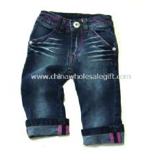 Girls Jeans with Print at Back Heart Pocket and Blue Stretch Denim Fabric images