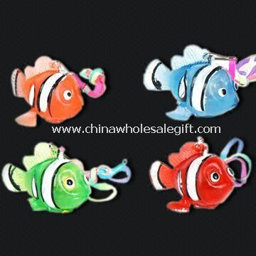 Fish-shaped Flashing Novelty Lights with LED and Keychain