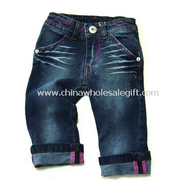 Girls Jeans with Print at Back Heart Pocket and Blue Stretch Denim Fabric