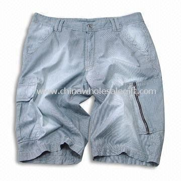Short Jeans with Multiple Pockets and Zippers Made of 100% Cotton Fabric