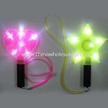 Heart/Star-shaped Flashing Sticks with 6 White LED Lights and Lanyard