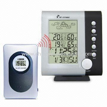 Wireless Weather Station Clock with Moon Phase Calendar Alarm World Time Zone Set