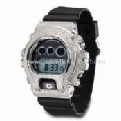 Electronic Sports Watch with Alloy Case and PU Band images