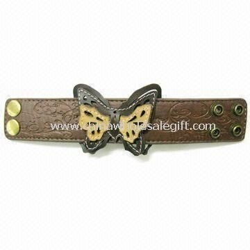 Fashionable Leather Wristband/Bracelet with Butterfly Patch Attached