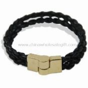 Plaited Leather Wristband Made of Alloy Magnet and Leather images