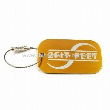 Luggage Tag with Printed Logo Finish Made of Aluminum