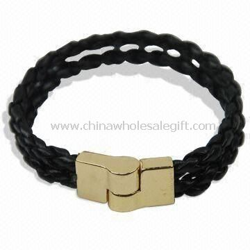 Plaited Leather Wristband Made of Alloy Magnet and Leather