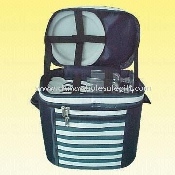 Durable Picnic Cooler Bag with 2 Sets of Plastic Utensils and Glasses