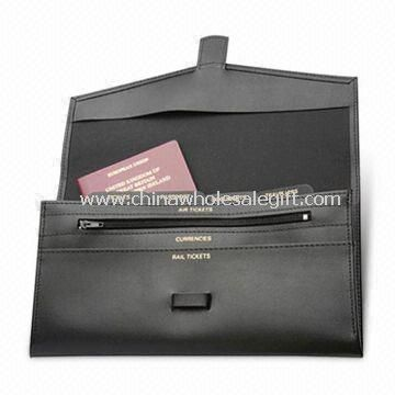 Leather Travel Wallet with Passport Holder and Different Pockets