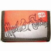 Nylon Mens Sports Tri-fold Ripper Wallet with Embroidery Pattern images